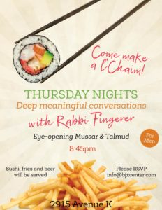 Sushi, Fries and Beer with Rabbi Fingerer